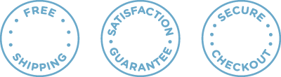 Free Shipping, Satisfaction Guarantee, Secure Checkout badges
